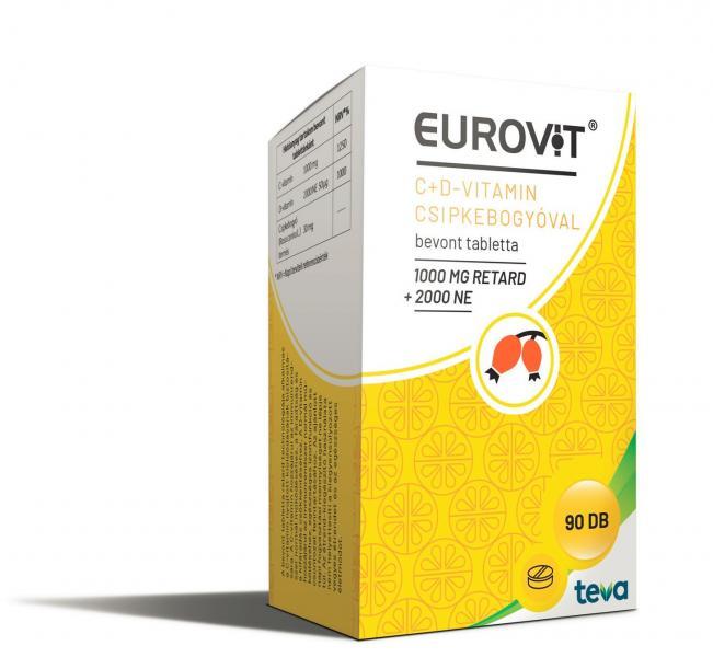 Eurovit C-vitamin 1000 mg retard + D-vitamin 2000 NE + csipkebogyóval 90x