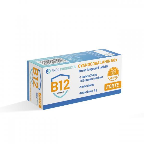 Cyanocobalamin Forte B12 vitamin étrend-kiegészítő tabletta, 50 db